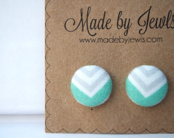Mint Green White and Grey Chevron Fabric Covered Hypoallergenic Button Post Stud Earrings 10mm