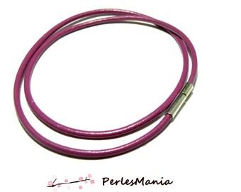 10 necklace FUCHSIA 2.5 mm 2G 7508 shutting leather tube