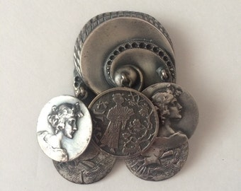 Sterling Button Company Art Nouveau Style Brooch with Pendants
