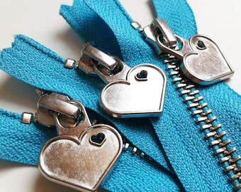 Metal Teeth 7 Inch Zipper with Special Heart Pull - YKK- 1 Piece- Parrot Blue 547