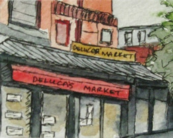 Boston Watercolor Painting Pen Ink Deluca's Market Newbury St Boston Artist Trading Note Card Gift Set Original Landmark Kathleen Daughan