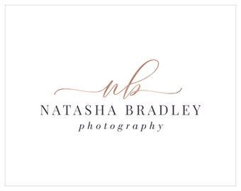 Premade Photography Logo, Watermark Logo, Signature Logo, Calligraphy Logo, Initial Logo, Logo Design, Rose Gold Logo 304