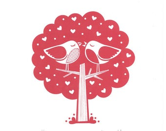 Love Birds Tree Screenprint • Signed Limited Edition A4 Hand-pulled • Wedding, Anniversary, Valentines • By Kate Maxwell Design&Draw