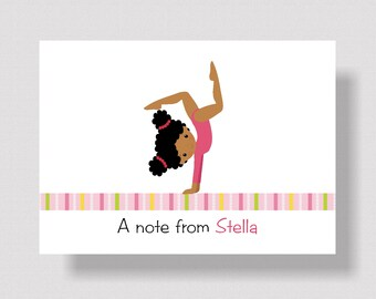 PERSONALIZED NOTECARDS for GIRLS | Cute African American Gymnast Gymnastics Notecards Boxed | Pink Stationery Set of 10 Gymnastics Thank You