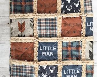 Rust and Denim Blue Little Man Rag Quilt