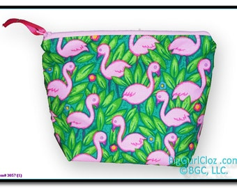 """Pink Flamingo Zippered Personal Soft Pouch approx. 9""""w X 7.5""""h"""