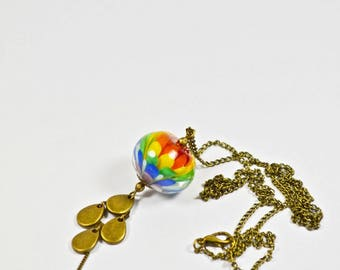 Rainbow Lampwork lotus necklace