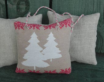 "Door ""Spirit Mountain: trees white"" linen cushion"