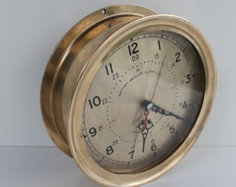 Vintage 1940s Nautical  Solid Heavy Brass  Clock.