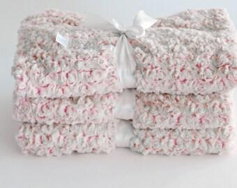 Baby Girl Pink Blanket Bedding Rose Print, Baby Girl Blanket, baby minky, Pink baby blanket, newborn baby blanket, baby shower girl gift,