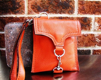 Leather iPhone wallet, iPhone wristlet, Custom to fit iPhone 6, 6s, 7, 8 and X,