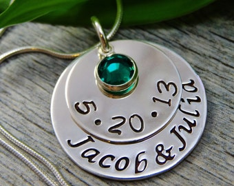 Hand Stamped Jewelry - Personalized Jewelry - Mom Necklace - Sterling Silver Necklace - Twin Necklace - Two Names One Birthstone - Date