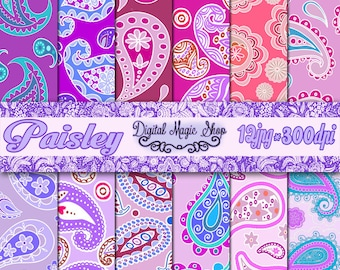 Blue Purple Pink PAISLEY Pattern Digital Papers Pack - 12pcs 300dpi (paper crafts,card making,scrapbooking) Personal and Commercial use