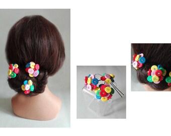 PIN multicolor bun bun candy spade hair wedding Hat woman ceremony