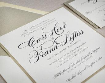 Square Wedding Invitation, Traditional Wedding, Formal Wedding Invitation, Black Tie Wedding Invitation, Champagne Wedding Invitation