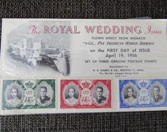 Vintage Monaco Postage Royal Wedding Issue 1956 Free Shipping