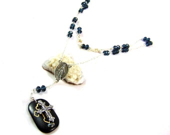 rosary bead necklace Virgin Mary and resin