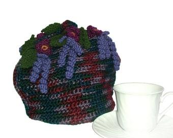 Crochet Tea Cosy, Dome Tea Cosy, Floral Tea Cosy in purple, dark red & forest green, OOAK Tea Cosy, Tea Cozy