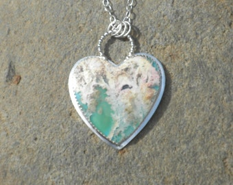 Regency Plume Agate Heart with Swallow, Sterling Silver, Pendant, Heart Shaped, Plume Agate, Blue, Green, Pink, White, Swallow on Back