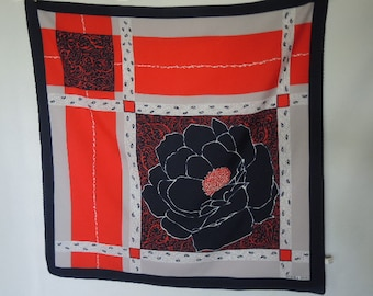 Vintage 1970s scarf Norma Dori red white blue abstract flower large print