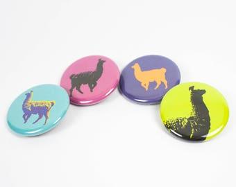 Llama Buttons – Llama Pin – 1.25 inch Button – Llama Love – Llama Gift – Llama Party Favors – Llama Accesories – Pins for Backpacks