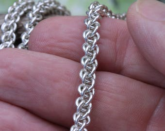 "Jens Pind  Necklace JPL Chain mail maile Hand Crafted in Sterling Silver 24"" 1.5 Oz"