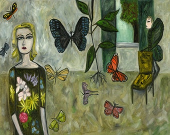 Under the influence of butterflies. Limited edition print of an original oil painting by Vivienne Strauss.