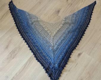 Cotton Crochet Shawl Striped degradè tones blue/crocheted cotton Shawal in blue gradient colour
