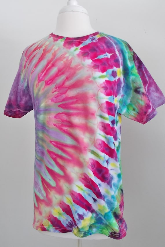 Ice-Dyed Tie Dyed  Cotton Tshirt, Men's Unisex Medium