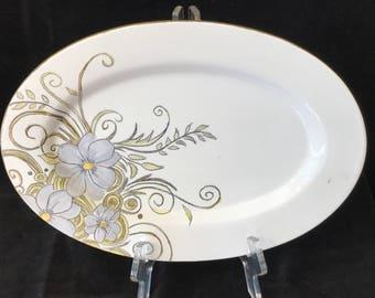 Serving Platter, Hand Painted, Serving Plate, Floral Platter, Floral Plate