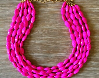 Pink Bead Necklace - Beaded Statement Necklace MultiStrand in Pink