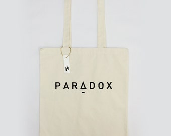 Paradox- hand screen printed tote bag/cotton bag/ Typography Bag/shopping bag with black and white geometry pattern