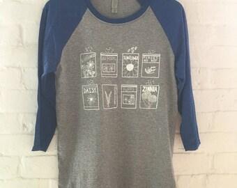 Flower Shirt, Raglan Shirt, Garden Shirt, Screen Printed T Shirt