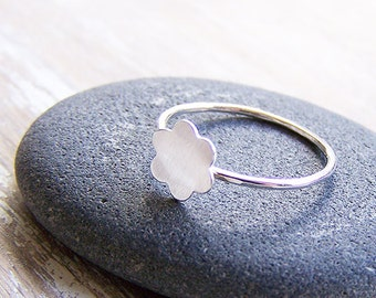 Flower Stack Ring - Matte Flower Stack Ring - Stack Ring - Custom Stack Ring - Recycled Sterling Silver Ring