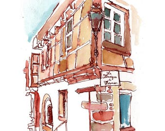"Print from original watercolor and pen urban sketch, ""Obernai, Alsace II"" by Mark Alan Anderson."
