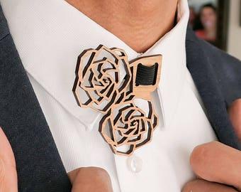 Roses Floral Laser Cut Collar Brooch