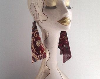 Multi Color Sheer Fabric Earrings, Womens Earrings, Handmade Earrings, Long Earrings, Sheer Earrings, Womens Jewelry, Ladies Earrings