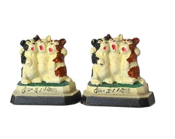 1930's Antique Singing Dogs Bookends, Three Bulldogs Bookends Cast Iron Music Notes Dog Bookends