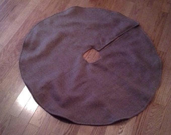 "READY TO SHIP-40"" Brown Burlap Christmas Tree Skirt--Rustic/Folk/Country"
