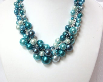 "Pearl Cluster Necklace Set in ""Shades of Blue"" - Chunky, Choker, Bib, Necklace, Wedding, Bridal, Bridesmaid, Prom"