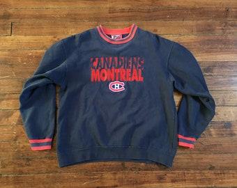 Montreal Canadiens crewneck sweatshirt pro player navy NHL hockey shirt Large