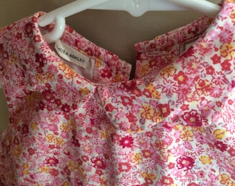 Laura Ashley 24 month girls dress, toddler dress, added lace, button back with tie sash