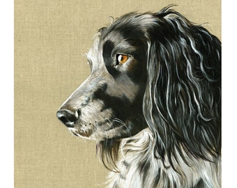 Beautiful springer spaniel dog art based print  from an original watercolour painting  sketch individually signed