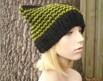 Green and Black Cat Beanie Chunky Knit Hat Womens Hat - Green Hat Black Hat Black Beanie Womens Accessories Winter Hat