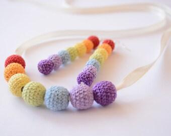 Crochet beads necklace and earrings, rainbow, summer,handmade