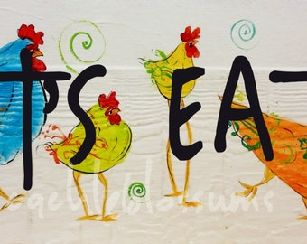 """5.5"""" X 21"""" #116 Funky Chicken  Folk art Chicken sign chicken art hand painted"""