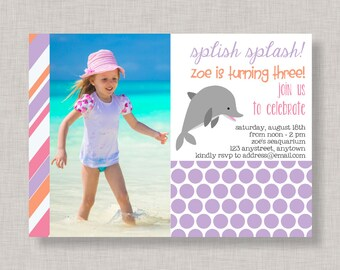 Dolphin Invitation, Dolphin Birthday Invitation for girls, Dolphin Party
