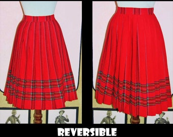 Vintage 1950's Reversible Red Wool Pleated Plaid Skirt. XS to Small.