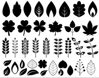 Leaves Clipart Digital Leaves Clip Art Vector Leaf Clipart Leaf Silhouette Invitations Scrapbooking Summer Leaves Spring Leaves Doodle Leaf