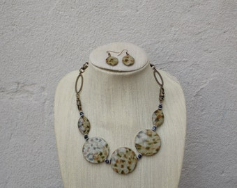 Oversized Round Flat Bead Statement Necklace with Dangle Earrings - African, Natural, Animal Print